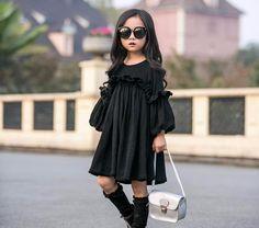 Bella Black Long Sleeve Girls Dress - Little Knot Heads Girls Black Dress, Little Girl Dresses, Girls Dresses, Little Girl Fashion, Fashion Kids, Fashion Outfits, Fashion Fashion, Fashion Spring, Fashion Clothes