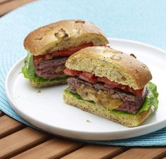 Horseradish, Cheddar, and Caramelized Onion-Stuffed Burgers (recipe)