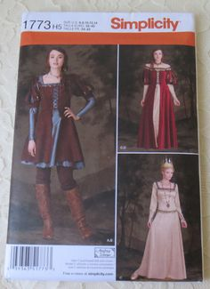 Simplicity Sewing Pattern 1773 Costume Pattern Snow White, Huntswoman, Queen, Medieval, Cosplay, Womens Size 6-14