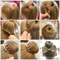 Top 5 Cute Bun Hairstyles for Girls will have you running for your comb and hairspray! These are some of our tried and true go-to styles for everyday! hairstyles Cute Bun Hairstyles for Girls - Our Top 5 Picks for School or Play Cute Bun Hairstyles, Dance Hairstyles, Braided Hairstyles, Gymnastics Hairstyles, Hairstyle Ideas, Fast Hairstyles, Princess Hairstyles, Teenage Hairstyles, Gymnastics Meet Hair