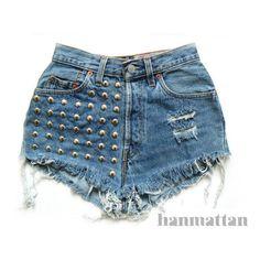 "ALL SIZES ""BOLT"" Vintage Levi high-waisted denim shorts blue... ($40) ❤ liked on Polyvore"