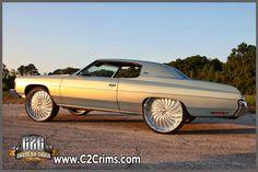 1973 Impala on 26 Forgiato Margo Brushed 71 Impala Rootbeer DUB Spinners 1972 Impala Turquoise With Forgiato Margos . Custom Wheels, Custom Cars, Chevy Caprice Classic, Donk Cars, Trick Riding, Pontiac, Old School Cars, Car Goals, Chevy Impala