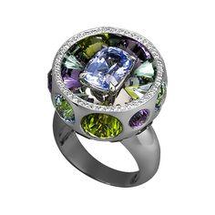 Lorenz Bäumer. Blue sapphire 3.03 cts green tourmaline 3.29 cts 2.70 cts aquamarine peridot 6.13 cts 4.17 cts amethyst 0.28 ct white diamonds gold 19.05 g white