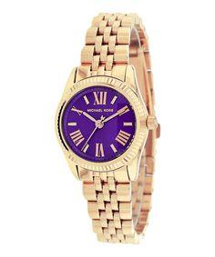 Look what I found on #zulily! Purple & Goldtone Double-Band Mini Lexington Bracelet Watch by Michael Kors #zulilyfinds