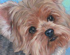 "Custom Pet Portrait Painting, Gift Certificate, Dog portrait, Yorkie art portrait, 5 x 7"" by Hope Lane"