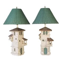 Pair Of Table Lamps - Mediterranean Villa Hollywood Regency Stone, Terracotta, Wicker, Wood Mediterranean Homes Exterior, Mediterranean House Plans, Mediterranean Architecture, Mediterranean Home Decor, Landscape Architecture, Painting Lamp Shades, Tuscan House, Modern Exterior, Exterior Homes