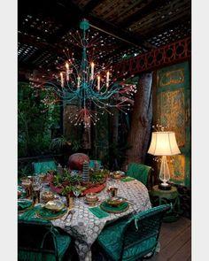 Tony Duquette Splashing Water chandelier & tons 'o pattern.