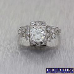 a10ef1849cef0d 1930s Antique Art Deco Platinum .87ctw Diamond Engagement Ring EGL $48 –  Collectors1946.com