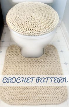 Toilet Seat Cover and Contour Rug - PDF Crochet Pattern - Instant Download #crochettoiletseatcoverpattern #crochetbathroomrugpattern #crochetbathroomsetpattern #toiletseatcovercrochetpattern #affiliate
