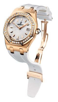 This watches face is surrounded by thirty-four pristine diamonds which sparkle like only a real Chopard can. This watches case is a beautiful steel and eighteen karot gold and comes in the standard size of twenty-four mm. the face of the watch is tinted pink and smartly contrasted by the black leather band. This watch is beautiful and a great gift for any lady.