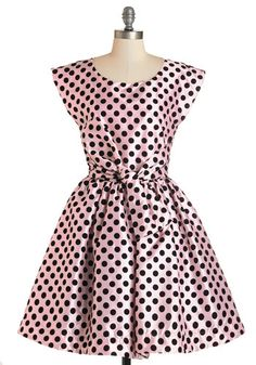 The Nicolette Dress. Every morning fills you with excitement - take on your day in this pink polka-dotted frock, echoing the enthusiasm of this fit-and-flare's namesake, Nicolette Mason! #gold #prom #modcloth