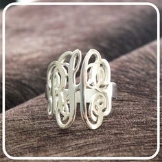 Sterling Silver Monogram Ring Personalized Ring by istanbuljewel