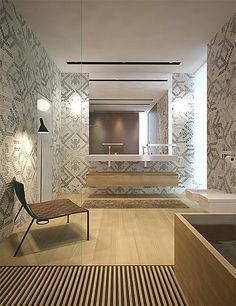bathroom with mosaic tiling