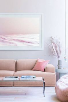 Style your pink couch with pastel accents including vases, prints , or a furry pink beanbag. Domino magazine shows you how to style a pink couch in your living room. Elegant Living Room, Chic Living Room, Home Living Room, Living Room Decor, Pastel Living Room, Bedroom Decor, Living Room Color Schemes, Living Room Designs, Pink Couch