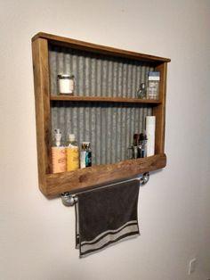 Reclaimed wood towel bar/shelf with corrugated tin Wood Wall Shelf, Wood Shelves, Storage Shelves, Rustic Shelving, Recessed Shelves, Barn Wood Crafts, Pallet Crafts, Diy Crafts, Tin Shower