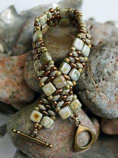 Czechmate Tile and Superduo Cuff Bracelet; Bead Weaving; Green Bracelet; Bronze…