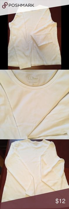 LL Bean white long sleeved t-shirt LL Bean soft white comfy long sleeve shirt. Durable and. Great for layering. L.L. Bean Tops Tees - Long Sleeve