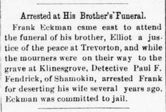 Genealogical Gems: On This Day: Eckman arrested at brother's funeral