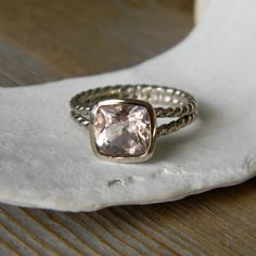 Rose Gold and Morganite Rapunzel Ring by onegarnetgirl. I love this entire Etsy shop.