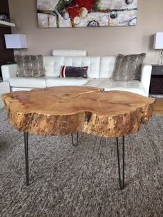 Natural Wood Table, Stump Coffee Table with Hairpin Legs Large live edge coffee table, Tree Trunk Coffee Table, Round Coffee Table Tree Trunk Coffee Table, Stump Table, Round Coffee Table, Tree Stump Side Table, Interior Exterior, Interior Design, Live Edge Table, Decorating Coffee Tables, Table Plans