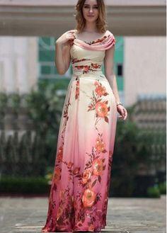 Bohemia Style Cap Sleeve Flowers Print Floor Length Dress on sale only $25.75