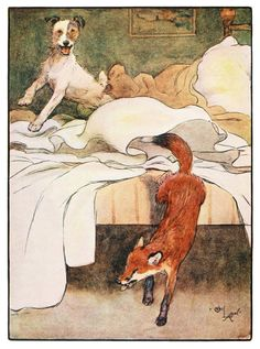 """""""White-ear and Peter: The story of a fox and a fox-terrier"""" Illustrated by Cecil Aldin, 1912"""