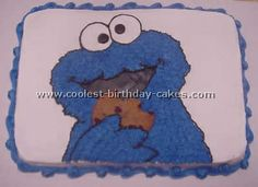 Cookie Monster Birthday Cake Photo--wax-paper transfer with decorating gel, then fill with a star tip?