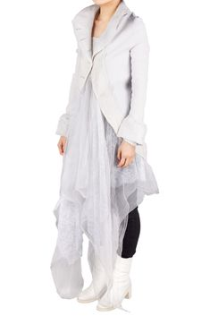 Le Bihan is art @ the library 1994 Le Bihan - Waterfall Lace Jacket by his fantastical collections, Marc Le Bihan creates indulgent pieces Lace Jacket, Superfly, White Boots, Wearable Art, Duster Coat, Ready To Wear, Waterfall, Feminine, Collections