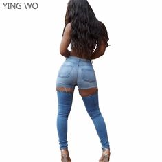 6cd9df0e5e US $22.95 15% OFF|Aliexpress.com : Buy New Sexy Cut out Back Bottoms Washed  Denim Pencil Pants Plus Size Woman Vintage Style Bleached Butt Lifting  Skinny ...