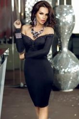 Off Shoulder Rhinestone Neckline Little Black Dress
