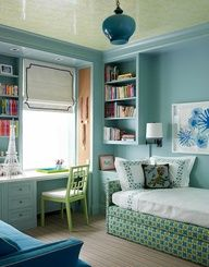 Katie Ridder - Blue  green chic teen girls bedroom design with blue walls paint color, ...