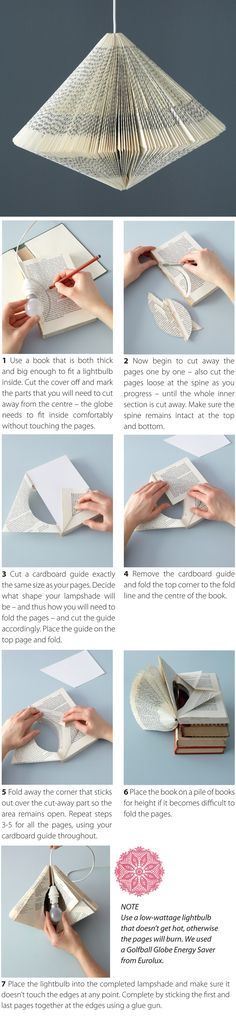 Book lampshade lampe livre diy