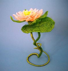Waterlily  French Beaded Flower by copperglass on Etsy