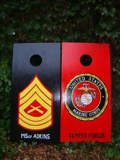 Military Salute Themed Custom JR Size Custom Cornhole Boards Perfect for Kids 15 x 30 Tailgating /& Traveling