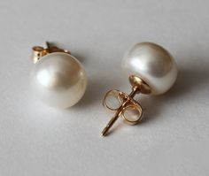 8.5 mm AAA gold filled genuine pearl earring studs by Pearlland88