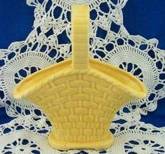 Vintage American Bisque Basket Wall Pocket Yellow