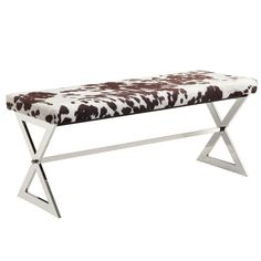 Bring a contemporary look to your entry way, living room, or bedroom with the iNSPIRE Q Iriona Chrome X-Base Bench. Adorned with a sleek chrome finish base and soft, neutral upholstery, the unique bench adds a modern touch to any décor. Cowhide Bench, Cowhide Fabric, Cowhide Decor, Padded Bench, Upholstered Bench, Home Furniture, Modern Furniture, Luxury Furniture, Welded Furniture