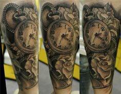 halfsleeve watch tattoo - 40 Awesome Watch Tattoo Designs | Art and Design