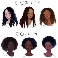 Curly Vs. Coily \\Texture differences// I ♡ this art, so cute ^^