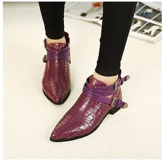 2017 Summer Elegant Fashion Girl Classical Retro Boots Buckle Strap Crocodile Flat Short Boots Woman Boots Women Casual Shoes #Affiliate