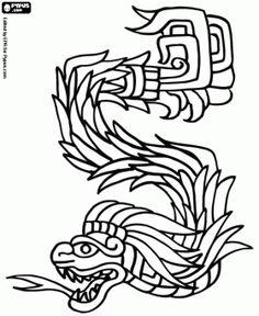 dibujos de la cultura Maya para colorear. Esta pagina incluye otras culturas. Colorear Kukulkán, la serpiente emplumada. El dios maya del Cielo