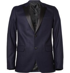My husband would put other men to shame in this! AMI wool tuxedo suit jacket $740.00 #blue #menswear #formalwear
