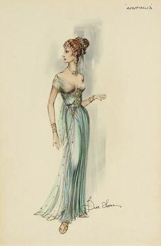SPARTACUS - signed original costume design sketch by Bill Thomas (colored pencil, ink & watercolor)