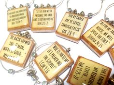 Custom Bible Verse Scrabble Tile Wine Glass Charms by EssenTiles
