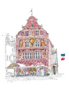Fabrice Moireau.  Mulhouse (Alsace) Ancien Hôtel de Ville. Watercolor Scenery, Watercolor Artists, Watercolor Flowers, Monuments, Mulhouse Alsace, Fabrice Moireau, Art Et Illustration, Urban Sketchers, Water Colors