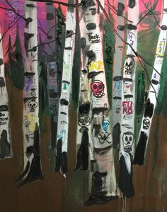 "Kim Dorland Kill Your Dreams, 2015/2016 Oil, acrylic and ink on canvas 60"" x 48"""