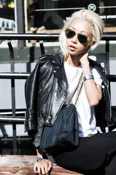The Haute Pursuit Blonde Asian, Tan Skin, Dress Suits, Wide Leg Trousers, Suit Fashion, Asian Style, Beautiful Outfits, Spring Summer, Leather Jacket