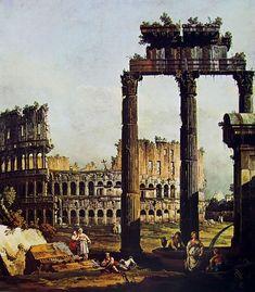 Capriccio romano con il Colosseo e i resti del tempio di Vespasiano; Bernardo Bellotto; olio su tela; capriccio; 1745; Galleria Nazionale di Parma, Italia.