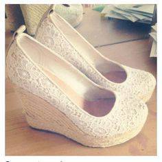 white wedges/ lace/ too cute
