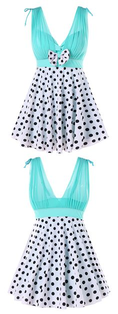 This stylish swimwear features the chiffon panel design with the ruched layout front and drawstring shoulder, low cut from the front to the back, empire waisted design with a delicate bowknot, and the flared bottom with the retro accent of the polka dot pattern.#swimwear